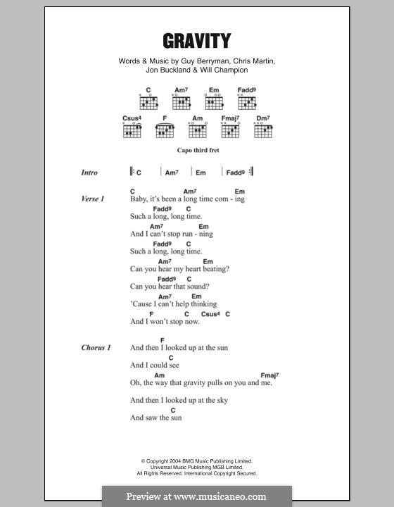 Gravity (Embrace): Lyrics and chords by Chris Martin, Guy Berryman, Jonny Buckland, Will Champion