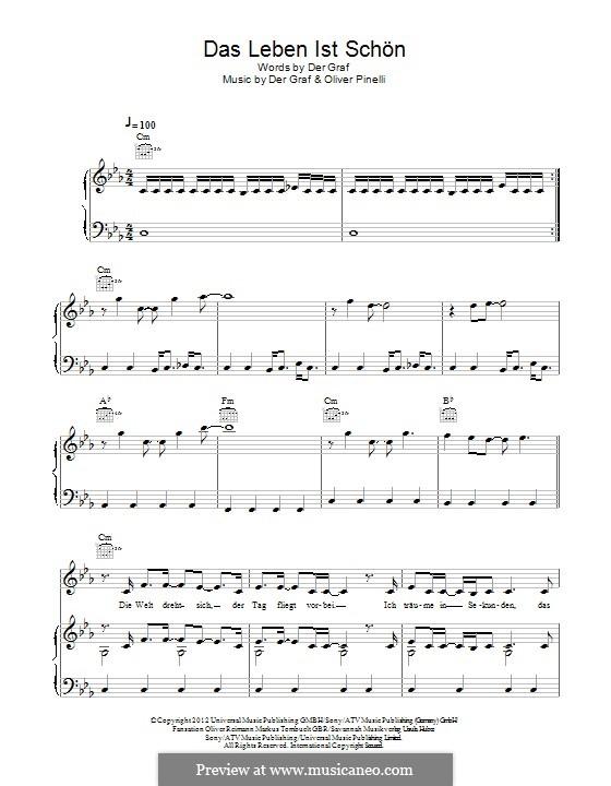 Das Leben ist Schön (Unheilig): For voice and piano (or guitar) by Der Graf, Oliver Pinelli