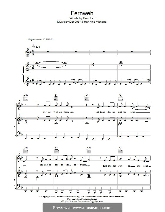Fernweh (Unheilig): For voice and piano (or guitar) by Der Graf, Henning Verlage