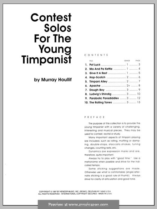 Contest Solos: For the Young Timpanist by Murray Houllif