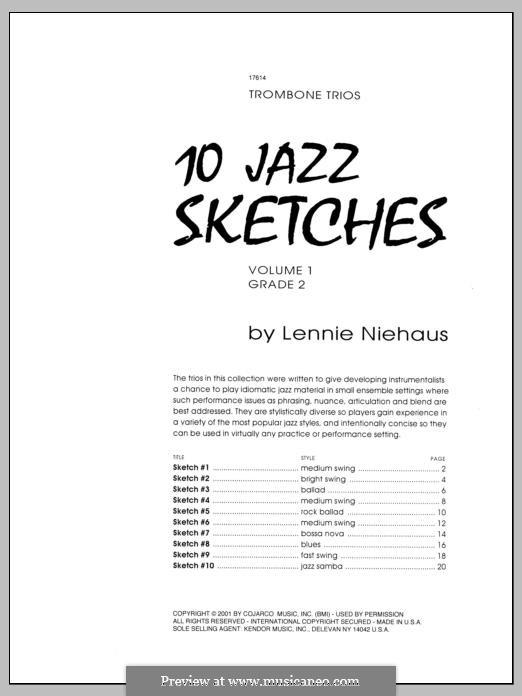 10 Jazz Sketches: Volume 1, trombone by Lennie Niehaus
