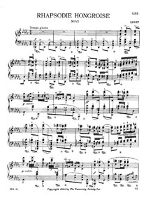 No.6 in D Flat Major, for Piano, S.244: For a single performer by Franz Liszt