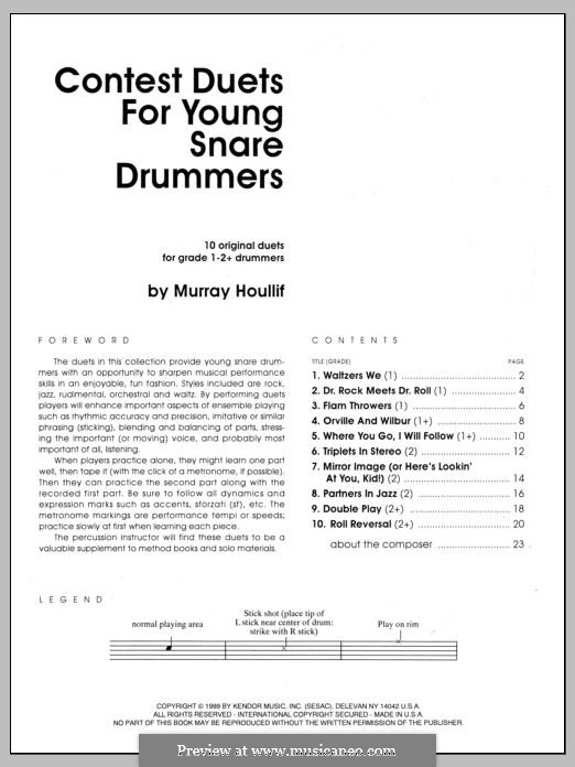 Contest Duets: For Young Snare Drummers by Murray Houllif