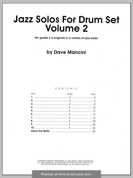 Jazz Solos for Drum Set, Volume 2: Jazz Solos for Drum Set, Volume 2 by Dave Mancini