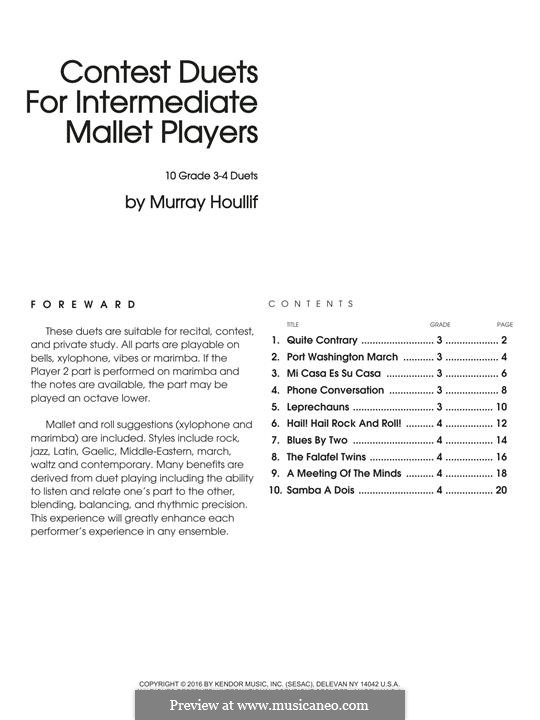 Contest Duets: For Intermediate Mallet Players by Murray Houllif