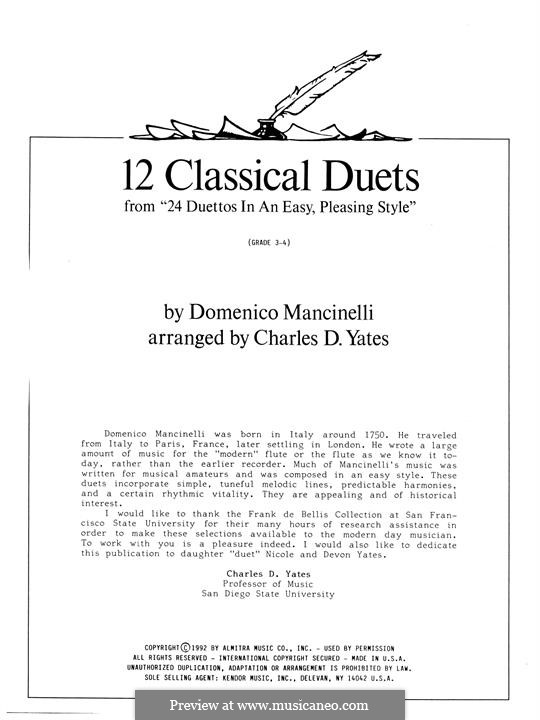 12 Classics Duets (from 24 Duettos in an Easy, Pleasing Style): 12 Classics Duets (from 24 Duettos in an Easy, Pleasing Style) by Dominico Mancinelli