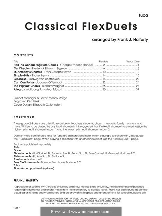 Classical FlexDuets: Tuba by Joseph Haydn, Wolfgang Amadeus Mozart, Jacques Offenbach, Georg Friedrich Händel, Ludwig van Beethoven, Richard Wagner, folklore, Frederick Ellsworth Bigelow