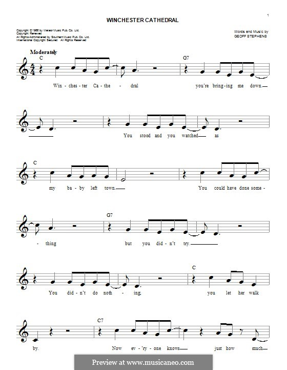 Winchester Cathedral (The New Vaudeville Band): Melody line by Geoff Stephens