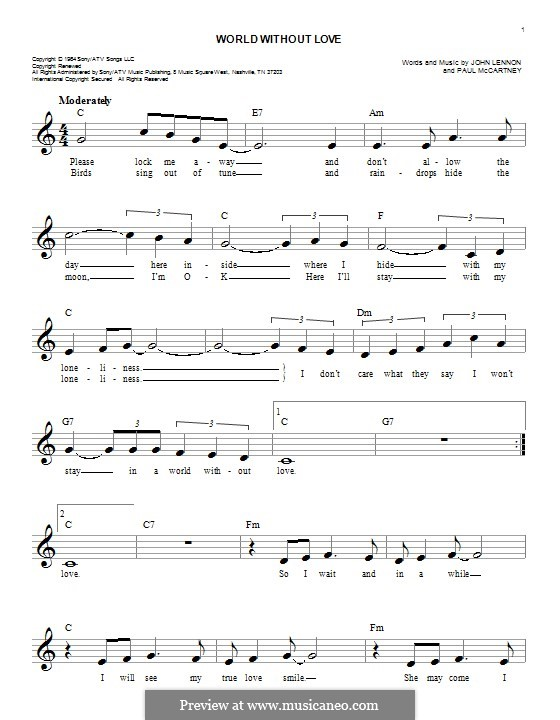 World without Love (The Beatles): Melody line by John Lennon, Paul McCartney