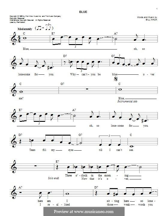Blue (LeAnn Rimes): Melody line by Bill Mack
