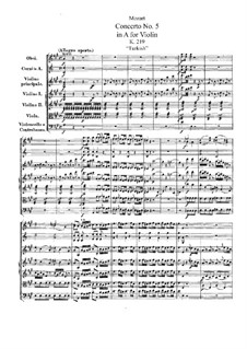 Concerto for Violin and Orchestra No.5 in A Major 'Turkish', K.219: Full score by Wolfgang Amadeus Mozart