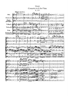 Concerto for Flute and Orchestra No.1 in G Major, K.313: Full score by Wolfgang Amadeus Mozart