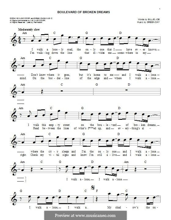Boulevard of Broken Dreams (Green Day): Melody line by Billie Joe Armstrong, Tré Cool, Michael Pritchard