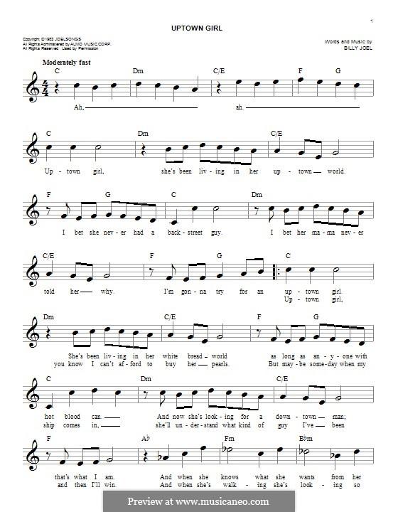 Uptown Girl: Melody line by Billy Joel