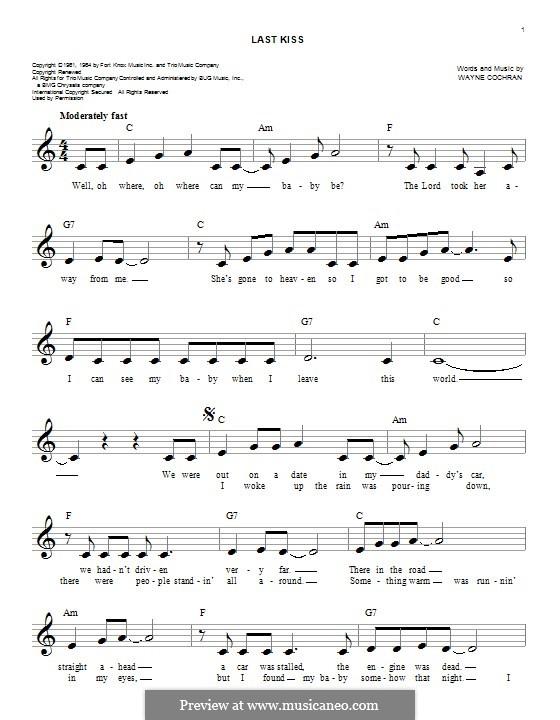 Last Kiss (J. Frank Wilson): Melody line by Wayne Cochran
