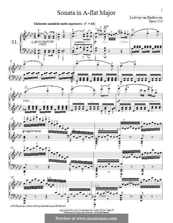 Sonata for Piano No.31, Op.110: For a single performer by Ludwig van Beethoven