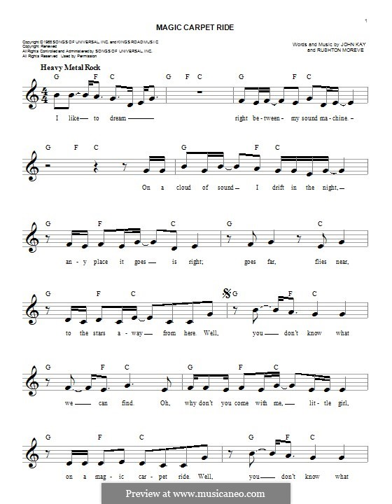 Magic Carpet Ride (Steppenwolf): Melody line by John Kay, Rushton Moreve