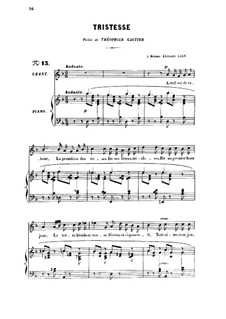 Three Songs, Op.6: No.2 Tristesse, for high voice by Gabriel Fauré