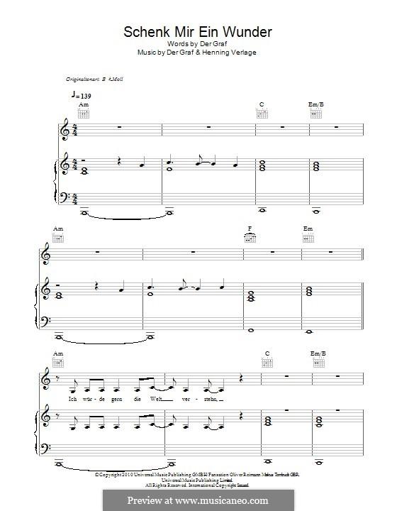 Schenk Mir Ein Wunder (Unheilig): For voice and piano (or guitar) by Der Graf, Henning Verlage