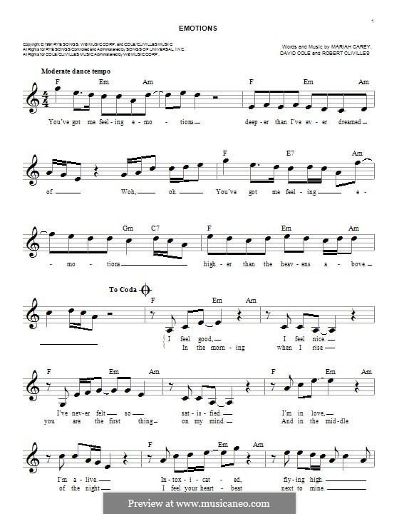Emotions: Melody line by David Cole, Mariah Carey, Robert Clivilles