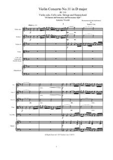 Violin Concerto No.11 in D Major, RV 210: Full score, parts by Antonio Vivaldi