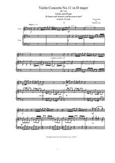 Violin Concerto No.11 in D Major, RV 210: Version for violin and piano by Antonio Vivaldi