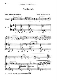 Two Songs, Op.43: No.2 Nocturne, for high voice by Gabriel Fauré
