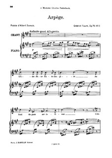 Two Songs, Op.76: No.2 Arpège, for high voice by Gabriel Fauré