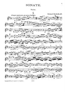 Sonata for Violin and Piano in B Minor, Op.20: Solo part by Richard Barth