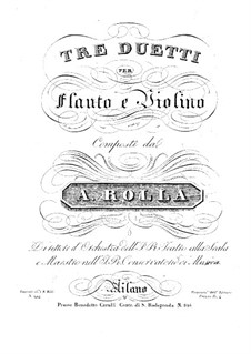Three Duos for Flute and Violin, BI 249, 253, 255: Three Duos for Flute and Violin by Alessandro Rolla