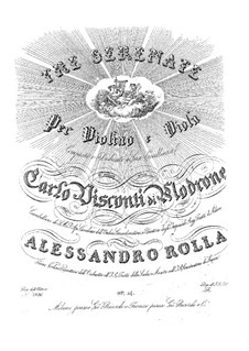 Three Serenades for Violin and Viola, BI 47, 100, 73 Op.14: Parts by Alessandro Rolla