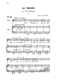 Three Songs, Op.8: No.2 La rançon, for medium voice by Gabriel Fauré