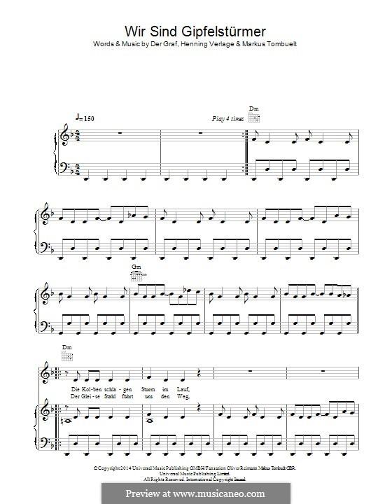 Wir Sind die Gipfelstürmer (Unheilig): For voice and piano (or guitar) by Der Graf, Henning Verlage, Markus Tombuelt
