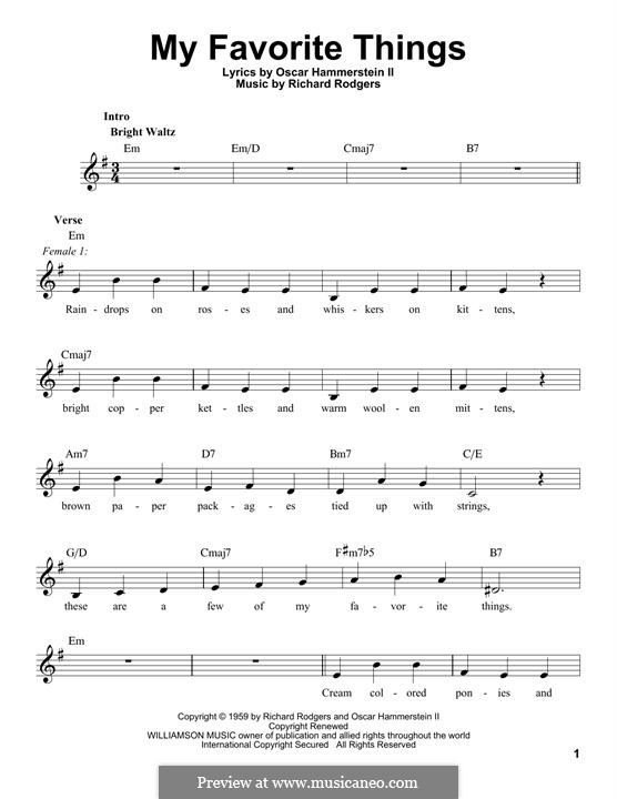 My Favorite Things (from The Sound of Music): Melody line by Richard Rodgers
