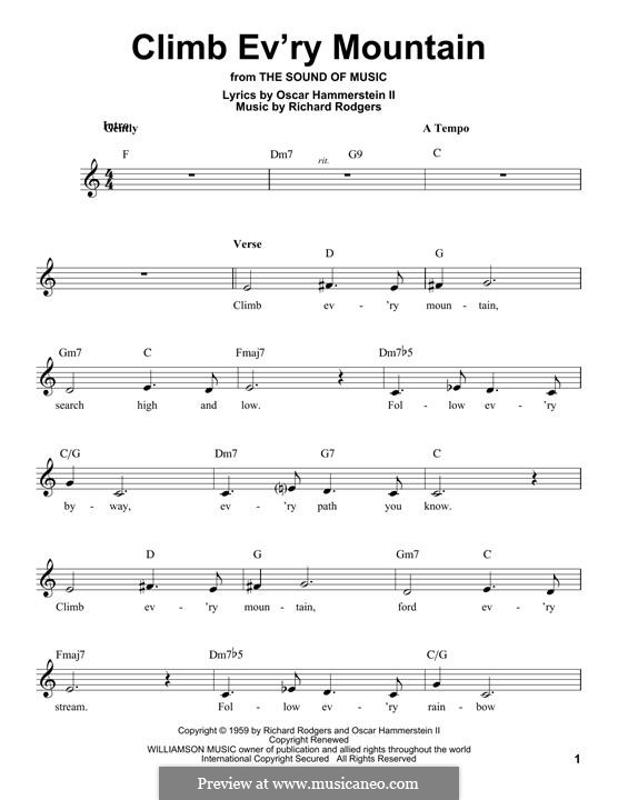Climb Ev'ry Mountain: Melody line by Richard Rodgers