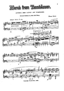 Transcription on 'Entry of the Guests on the Wartburg' from 'Tannhäuser' by Wagner, S.445 No.1: For piano by Franz Liszt