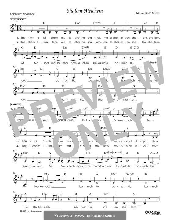 Shalom Aleichem: Melody line by Beth Styles