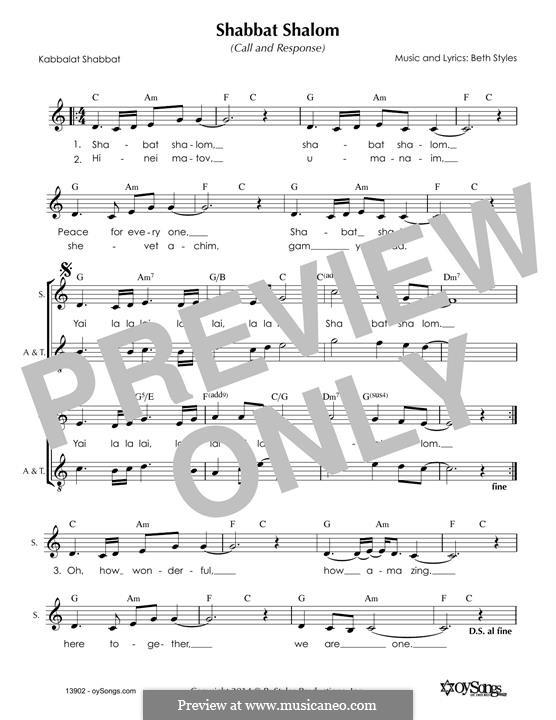 Shabbat Shalom (2part): Melody line by Beth Styles