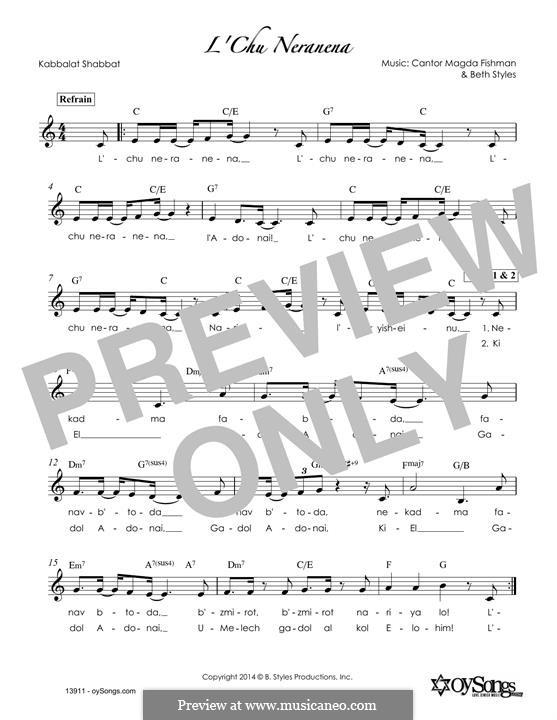 L'Chu Neranena: Melody line by Beth Styles