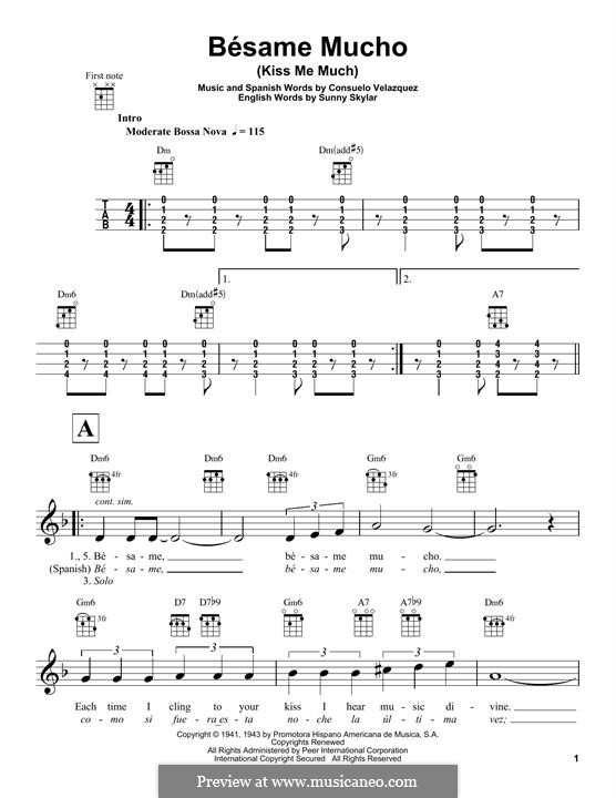 Besame Mucho (Kiss Me Much): For ukulele by Consuelo Velazquez