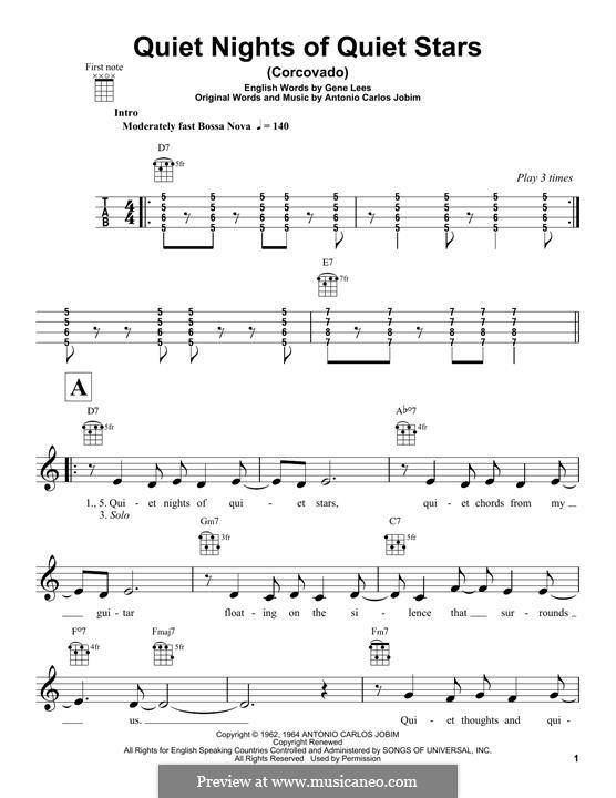 Corcovado (Quiet Nights of Quiet Stars): For ukulele by Antonio Carlos Jobim