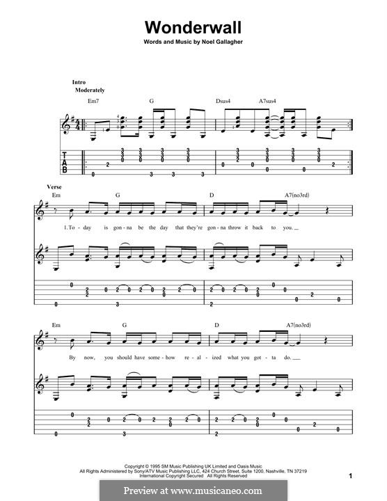 Bien-aimé Wonderwall (Oasis) by N. Gallagher - sheet music on MusicaNeo AZ41