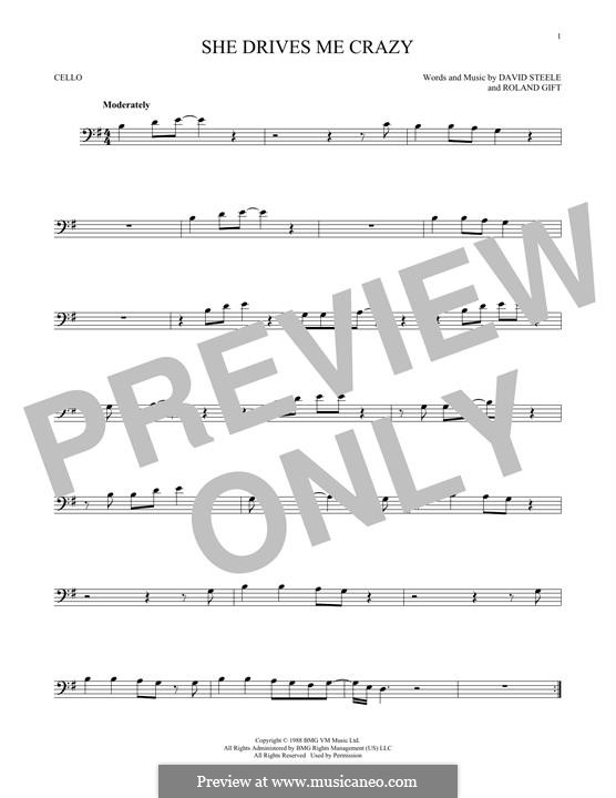 She Drives Me Crazy (Fine Young Cannibals): For cello by David Steele, Roland Gift