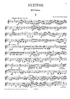 Sextet for Piano and Strings No.3, Op.43: Violin II part by René de Boisdeffre