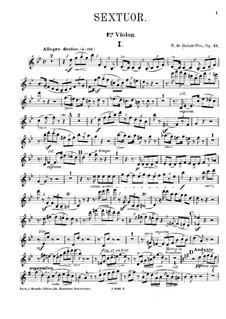 Sextet for Piano and Strings No.3, Op.43: Violin I part by René de Boisdeffre