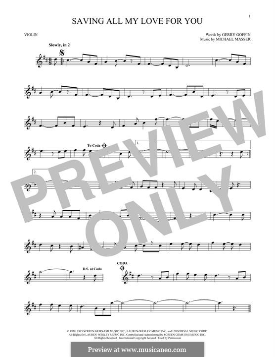 Saving All My Love for You (Whitney Houston): For violin by Gerry Goffin, Michael Masser