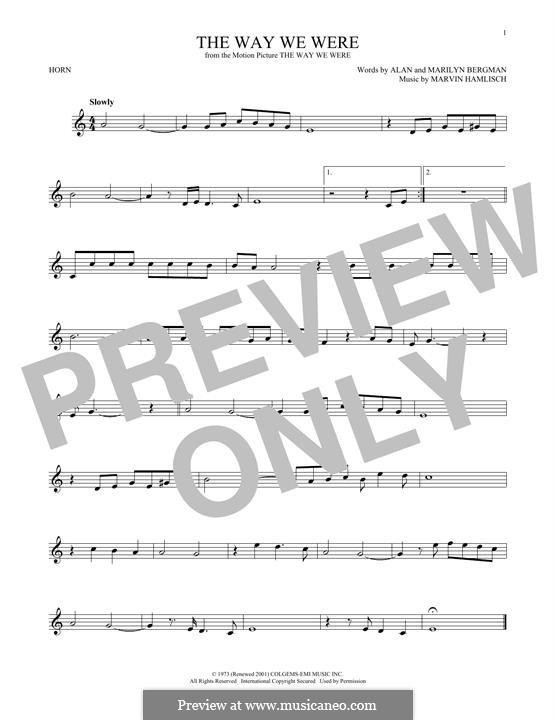 The Way We Were (Barbra Streisand): For horn by Marvin Hamlisch