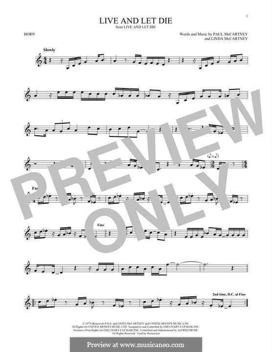 Live and Let Die (Wings): For horn by Linda McCartney, Paul McCartney