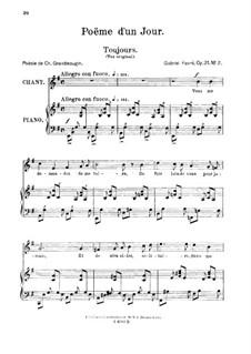 Poème d'un jour, Op.21: No.2 Poème d'un jour (Toujours), for medium voice by Gabriel Fauré