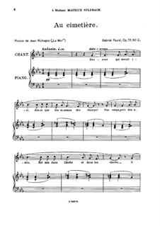 Four Songs, Op.51: No.2 Au cimetière, for medium voice by Gabriel Fauré
